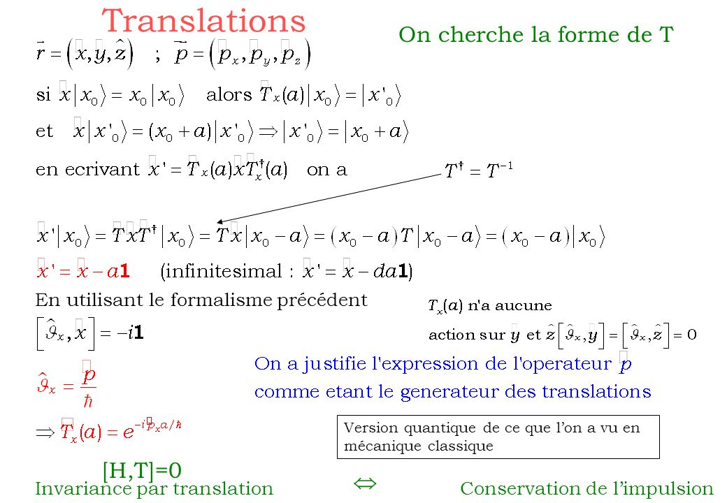 Translations On cherche la forme de T [H,T]=0 